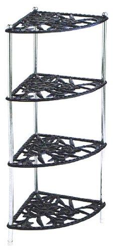 Etonnant Cast Iron Kitchen Corner Pan Stand Saucepan Holder   Black
