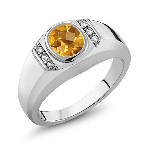 Gem Stone King 1.31 Ct Oval Checkerboard Yellow Citrine White Created Sapphire 925 Sterling Silver Men's Ring (Size 11) (Citrine Sapphire Ring)