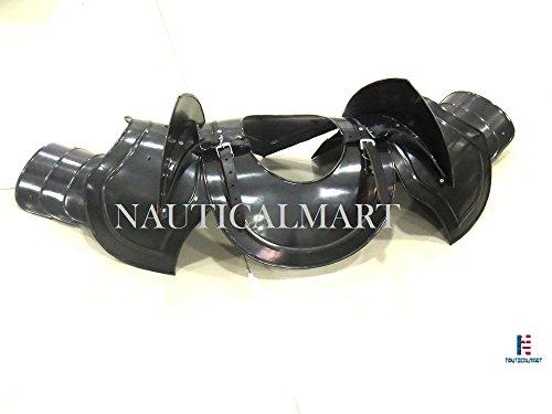 Gothic Pauldrons Upper Arm & Shoulder Armor - Black by NAUTICALMART (Image #2)