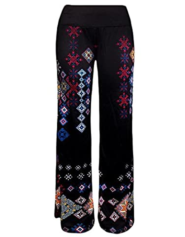 xiaokong Women's Comfy Chic Floral Smocked Waist Palazzo Trousers 2 S - Smocked Waist Silk Blouse