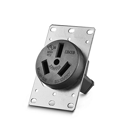 Aweking UL Listed 50 Amp 50A Power Receptacle Outlet NEMA 10-50R,Industrial Power,125 Volt,250 Volt,nema 10-50r Receptacle,Straight Blade,Flush Mounti (Range Flush Receptacle)