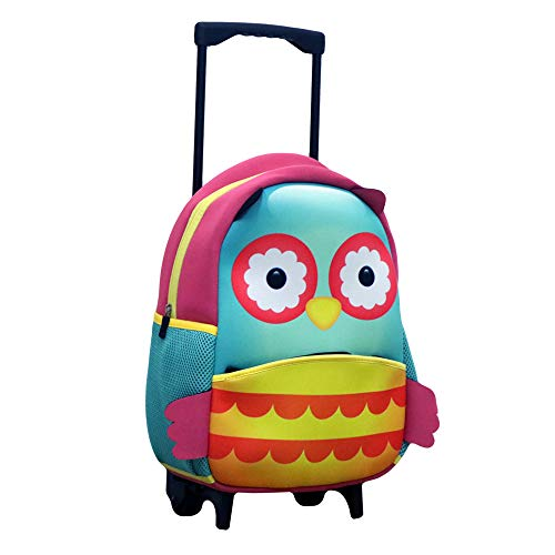 Castle Story Toddler Neoprene Backpack with Wheels or Kids Little Rolling Luggage for toddler boys and girls(Owl)