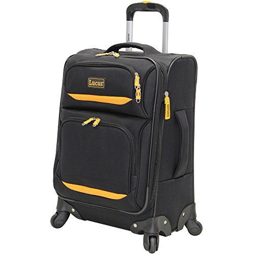 Lucas Luggage Ultra Lightweight Carry On 20 inch Expandable Suitcase With Spinner Wheels (20in, Debut Black)