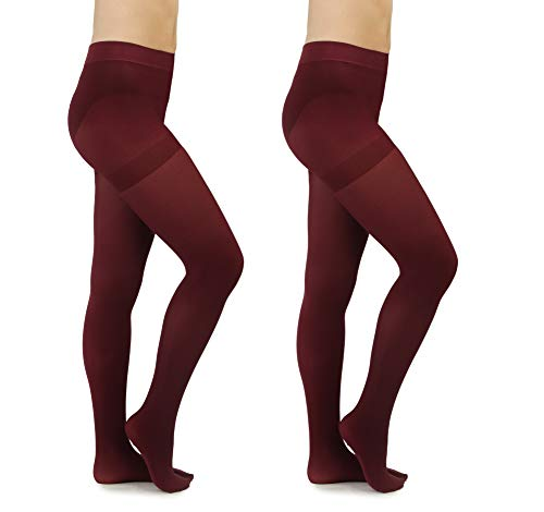 - Silky Toes Women's Microfiber Tights with Control Top (Petite, Burgundy)