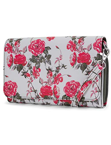 (Mundi RFID Crossbody Bag For Women Anti Theft Travel Purse Handbag Wallet Vegan Leather (Rose Floral))