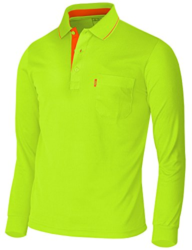 BCPOLO Men's Polo Shirt Long Sleeve Solid Polo Shirt Dri Fit T-Shirt Green-XL (Asia-XXXL)