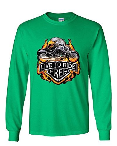 Ride Eagle (Live to Ride Long Sleeve T-Shirt Flaming Eagle & Bike Biker MC Tee Green 3XL)