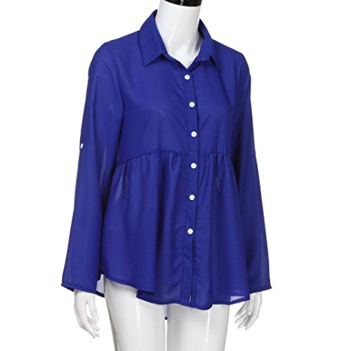 Manche Femme Unie Dcontracte Chemisier Bleu S Mesdames Couleur Chemises Shirt Femme de Revers Taille ~ Longue T Haut Mousseline lgant OL Chemise Wolfleague 5XL Soie Grande Yawpp