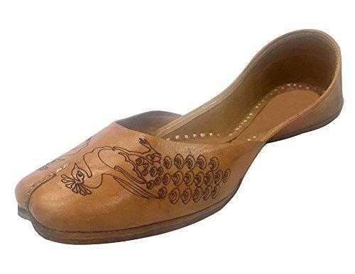 Stap N Stijl Vrouwen Casual Plain Ballet Comfort Platte Schoenen Pauw Artwork Khussa Mojari
