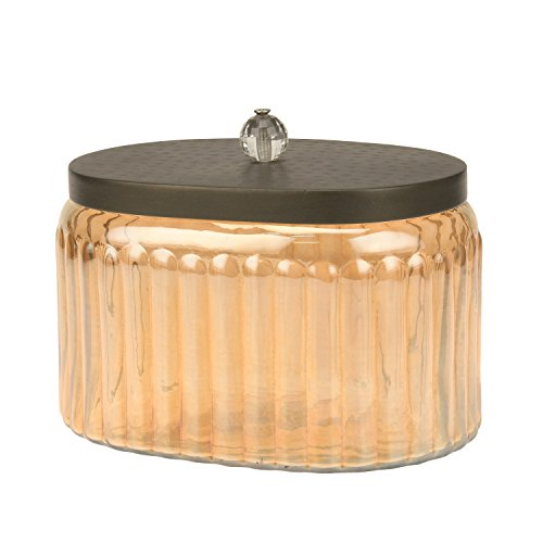 - Stonebriar Amber Glass Storage Container with Hammered Metal Lid, Decorative Jar for Cotton Ball or Cotton Swab Storage, Unique Keepsake or Trinket Box, Elegant Jewelry Box