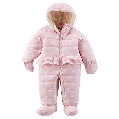 OshKosh B'Gosh Girl's Pink Polka Dot Hooded Peplum Bunting (6/9 Months)