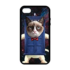 Grumpy Cat Getting through Blue Door Case cover for iPhone 5 5s protective Durable black case