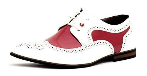 Hombre Vestido Zapatos De Boda Elegante Oficina De Vestir Con Cordones Trabajo Talla UK Blanco/Rojo