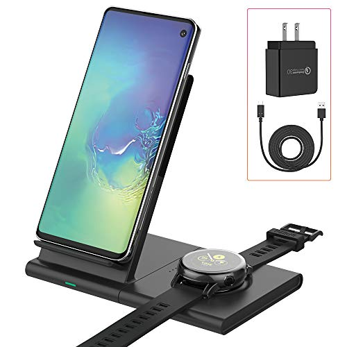 Mostof Wireless Charger Stand with Pad, 10W Qi Fast Charging Station Compatible Samsung Galaxy Watch 42mm 46mm/Galaxy Buds/Gear S3 Sport/Galaxy Watch Active, iPhone Xs Max/XR, Samsung Galaxy S10/S9/S8 (Best Wireless Charger For Galaxy S3)