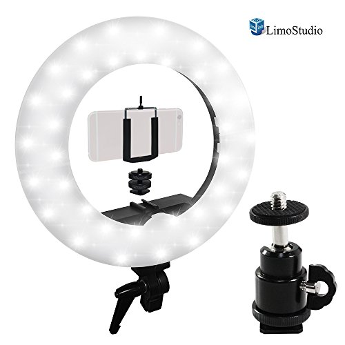 LimoStudio 14-inch LED Ring Light, 5600K with Cellphone Clip Holder, Camera Mount Screw Nut Adapter, 360 Degree Swivel Mini Ball Head, Suitable for Facial Beauty Shot, Photo/Video Studio, AGG2212V2