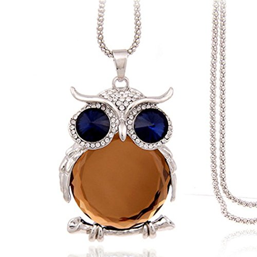 Challyhope Lucky Cute Owl Pendant Crytal Graceful Sweater Chain Long Necklace Jewelry Gifts For Womens Girls (Platinum + Champagne, Alloy)