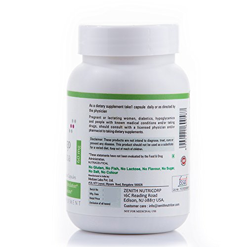 Zenith Nutrition Ginkgo Biloba (Supports Mental clarity, Focus & Memory) 60 mg - 180 Veg Capsules