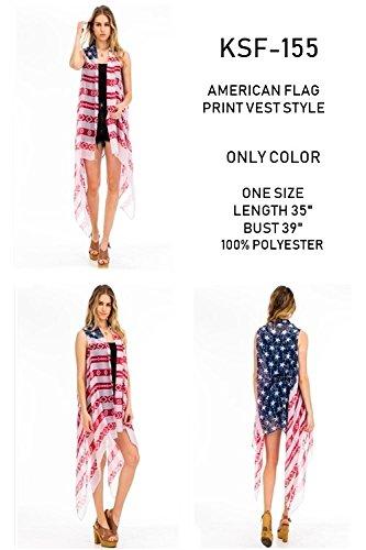 59c3ca00bb56d Amazon.com: Patriotic American Flag Inspired Distressed Kimono Cardigan  Sleeveless Vest or Scarf Vintage Boho 4th of July or Beach Kimono Flowing  Summer ...