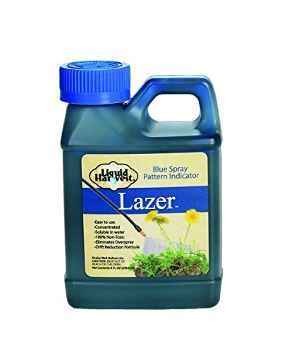 Liquid Harvest Lazer Blue Concentrated Spray Pattern Indicator - 8 Ounces - Perfect Weed Spray Dye, Herbicide Dye, Fertilizer Marking Dye, Turf Mark and Blue Herbicide Marker