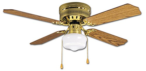 Litex CC42BB4L Celeste Collection 42-Inch Ceiling Fan with Four Reversible Oak/Mahogany Blades and Single Light kit with White Opal Glass ()
