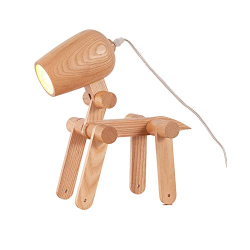 WYGG Lámpara de Mesa de cabecera para Perros de Madera Creativa con Variedad de Formas, articulaciones Ajustables, Forma de...