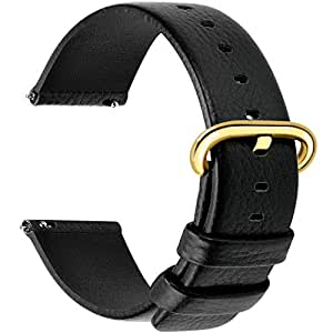 12 Colors for Quick Release Leather Watch Band, Fullmosa Uli Genuine Leather Watch Strap 18mm Black-GD