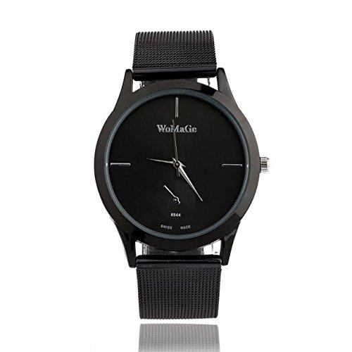 DressLksnf_Reloj Color Puro Lujo Moda para Mujer Pulsera Banda de Reloj Casual Ajuste Acero Inoxidable Durable Correa de Malla Metal Digital Clásico Simple: ...