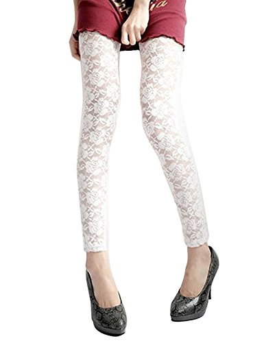 - DITTMURI Women Rose Floral Lace Hollow Out Footless See Through Tights Club Leggings White