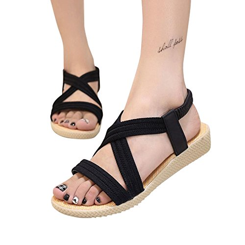 Women Shoes Outdoor Bandage Toe Peep Bohemia ANBOO Leisure Elastic Flat Sandals Black fOnSxFpq