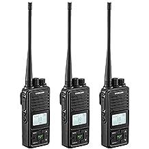 2 Ways Radio Long Range Samcom FPCN10A GMRS Walkie Talkie 20 Channels Wireless Intercom with Group Button, UHF 400-470MHz,2 Watt, Earpiece, Belt Clip(Pack of 3)