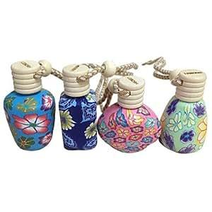 DK LEBOSH? 4pcs Polymer Clay Perfume Pendant Essential Oil Bottles Car Hanging Decorations (Random Color)