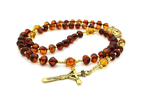 Genuine Baltic Amber Catholic Prayer Rosary with Crucifix - Amber Glass Bracelet