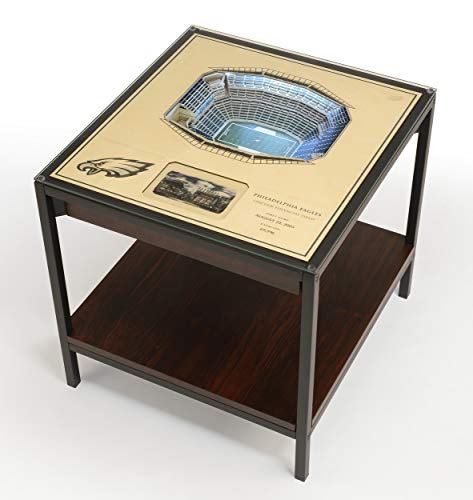 YouTheFan NFL Philadelphia Eagles Unisex 25-Layer StadiumViews Lighted End TableNFL 25-Layer StadiumViews Lighted End Table, Espresso, 23