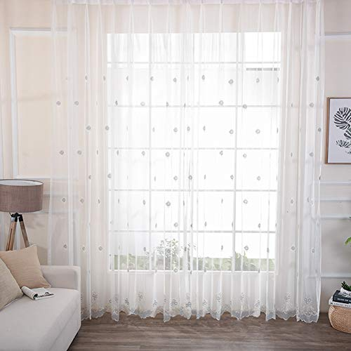 BW0057 Modern European Style Small Floral Soild Embroidery Lace Sheer Curtain Rod Pocket Home Decoration Panel Voile Draperies for Living Room Bedroom Kids Room(1 Panel, W 50 x L 95 inch, White) ()