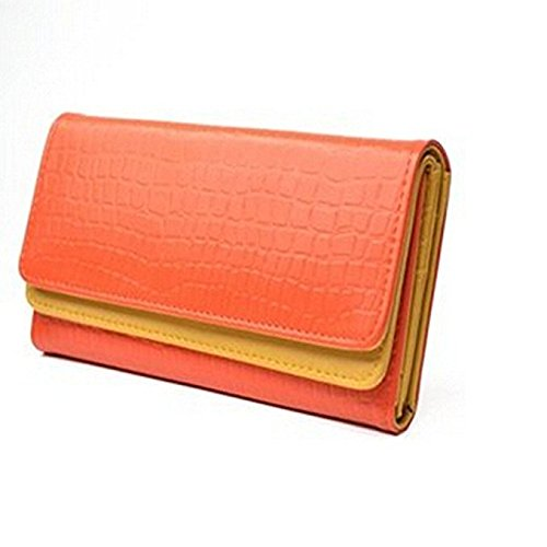 KLOUD City Orange synthetic leather stone pattern double layer women wallet