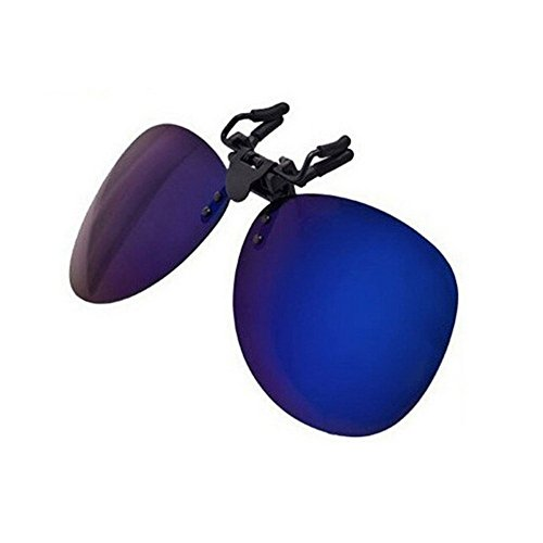 Duco Polarized Clip-on Sunglasses Flip-up Eyewear- Aviator Style Glasses - Polarized Lens for Men and Women 3603 (Revo Blue - Try Glasses Online