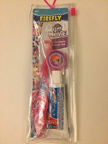 Firefly My Little Pony Movie Kid's Dental Travel Kit - 1 Toothbrush, 1 Toothpaste, and Toothbrush Cover, Ages 6+