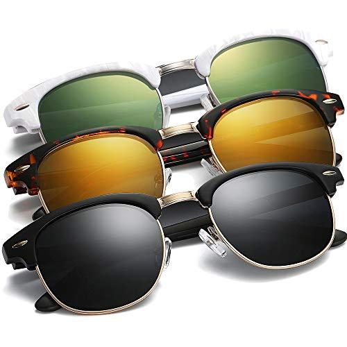 Polarized Sunglasses for Women and Men - wearPro Semi-Rimless Men Sunglasses polarized uv protection WP2006 (3pack-(orange+black+green), 2.14)