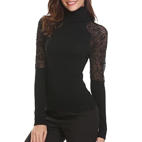 Easther Womens's Long Sleeve Lace Patehwork Turtleneck Slim Fit Knitted Sweater