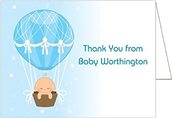 Amazon Com Hot Air Balloon Baby Boy Baby Thank You Cards Set Of