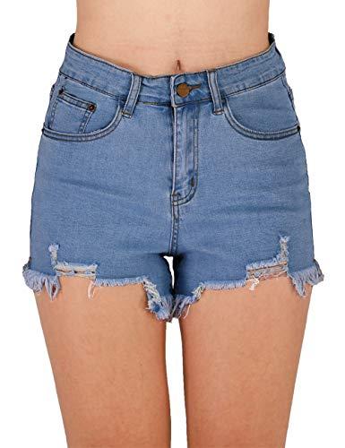 Raw Denim - Haola Womens Denim Shorts Summer Stretchy Frayed Raw Hem Distressed Jeans Shorts Dark Blue M