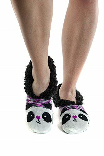 Womens's Slip Resistant Sole Faux-Fur Slipper Booties Socks, Panda, (Panda Bear Slippers)