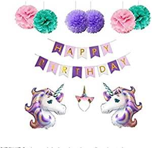 Unicorn Birthday Party Decoration Supplies for Girls include 2 Large Foil Unicorn Balloons, Happy Birthday Banner Flags, 6 Colorful Gold Glitter Unicorn Horn Headband for Kids, Teens, Adults