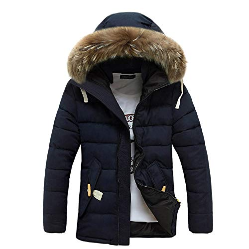 Allywit Men's Winter Thicken Coat Quilted Puffer Jacket with Removable Hood Oversize by Allywit (Image #3)