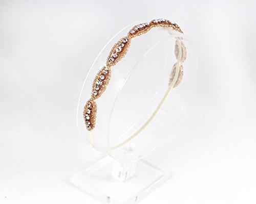 Rose Gold Beaded Bridal Elastic Headband