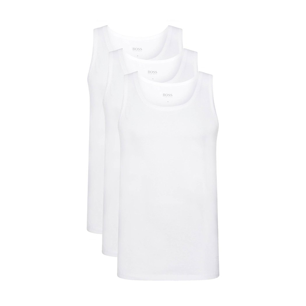Hugo Boss Mens 3-Pack Tank Top XL 3 X White O Neck Round Neck Cut