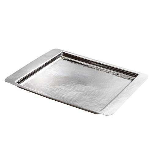 Elegance Hammered Stainless Steel Square Tray, - Part Divided Serving Tray