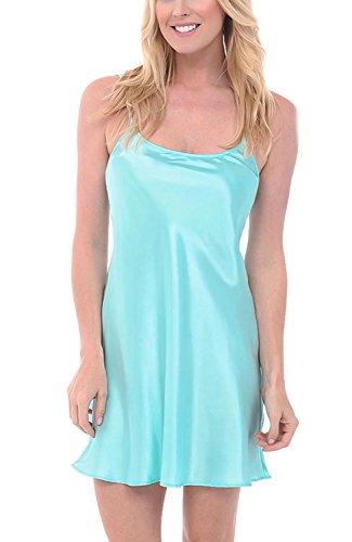 Del Rossa Women's Satin Nightgown, Long Camisole Chemise, Medium New Light Blue (A0766LGHMD) (Blue Satin Chemise)