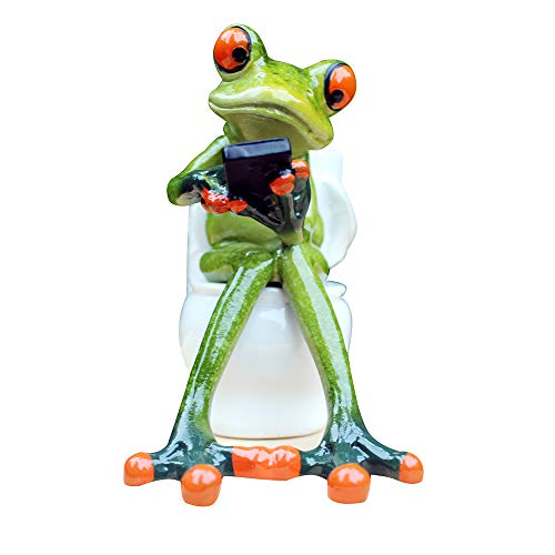 (L.DONG 3D Creative Frog Figurine Decor, Green Frog Statue Texting on Toilet, Resin Animal Pen Pencil Holder Funny Cute Decoration for Home Desk Bathroom)