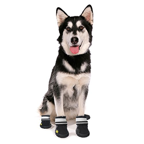 4908c4321d7f7 ASMPET Dog Boots Waterproof Shoes with Reflective Anti-Slip Sole Snow Boots  Warm Paw,4pcs (4, Black)